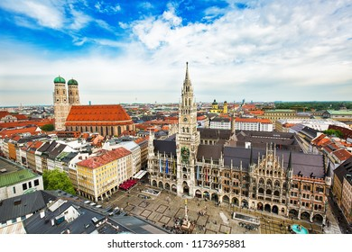 MUNICH, GERMANY - May 2nd, 2018: Aerial view to the central part of the city with the tower of Munich town hall