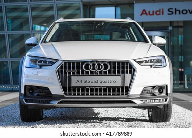 Munich, Germany - May 6, 2016: Audi A4 allroad quattro new modern SUV car model with four wheel drive system and powerful diesel engine. Outdoor stock photo captured in public place with free access.
