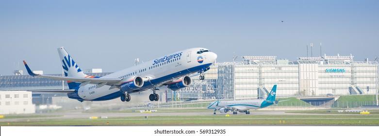 Munich, Germany - May 6, 2016: Airplane Boeing 737-800 of SunExpress Deutschland - German leisure airline, taking off from Munich international airport.