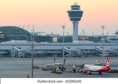 Munich, Germany - May 6, 2016: Sunrise over Munich international airport Franz Josef Strauss