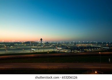 Munich, Germany - May 6, 2016: Munich international airport named in memory of the former Bavarian Prime Minister Franz Josef Strauss