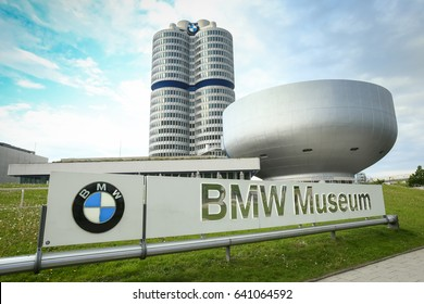 MUNICH, GERMANY - MAY 6, 2017 : Logo of BMW in front  of the BMW Museum in Munich, Germany.