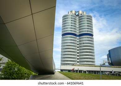 MUNICH, GERMANY - MAY 6, 2017 : A view of the BMW Museum with bridge who leads from BMW museums to BMW Welt exhibition center in Munich, Germany.