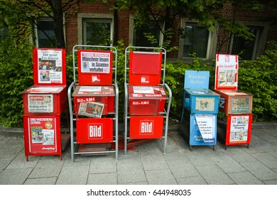 MUNICH, GERMANY - MAY 6, 2017 : Newspaper vending machines with tabloid Bild in Munich, Germany.