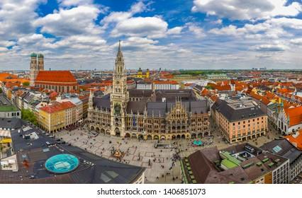 MUNICH, GERMANY – MAY 7 2019: Beautiful Panorama View From Alter Peter To Marienplatz.