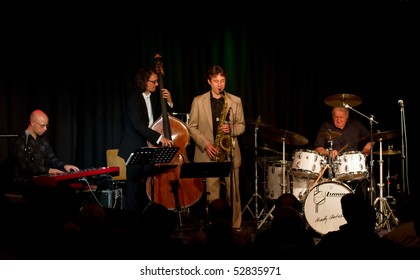 """MUNICH, GERMANY - MAY 7: Charly Antolini, Swiss jazz drummer, and his Swingin`Band """"Special Delivery"""" at  Theater Interim on May 7, 2010 in Munich, Germany"""