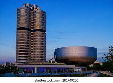 MUNICH, GERMANY - May 7,2015: BMW Headquarters during dusk  on May 7, 2015 in Munich.BMW Museum is located near the Olympiapark in Munich and was established in 1972 shortly before the Summer Olympics