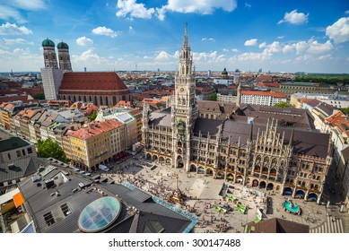 Munich Germany (Munchen), city skyline at Marienplatz town hall