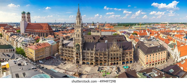 Munich Germany (Munchen), panorama city skyline at Marienplatz town hall