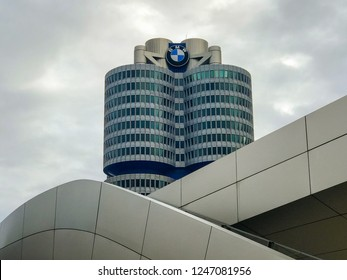 Munich, Germany - November 10, 2018: Architecture of BMW Welt / World and BMW Museum in Munich Germany.