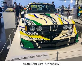 Munich, Germany - November 10, 2018: Art cars in the BMW museum in Munich Germany