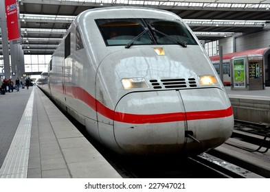 Munich, Germany - November 12, 2012: A Deutsche Bahn ICE Intercity bullet train waits at Munchen Hauptbahnhof. The Intercity-Express high-speed trains run in Germany and surrounding countries.