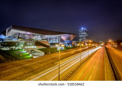 MUNICH, GERMANY, NOVEMBER 14, 2016: BMW World (BMW Welt) and BMW 4-Cylinders Building at BMW Headquarter (long exposure) in MUNICH