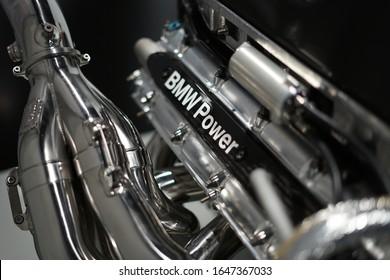 Munich, Germany - November 16 2019: Detail of BMW Power racing engine