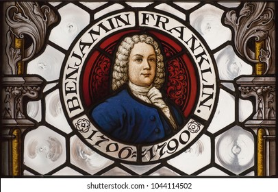 MUNICH, GERMANY - NOVEMBER 17, 2017: Portrait of american politician Benjamin Franklin on stained-glass window indide New Town Hall on November 17, 2017. Munich is 12th largest city in European Union