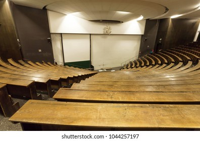 MUNICH, GERMANY - NOVEMBER 17, 2018: Empty auditorium of Technical University for lecture and graduation of students on Novemebr 17, 2018. Munich is 12th largest city in European Union