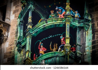 MUNICH, GERMANY - NOVEMBER 23, 2018 : Elements of architecture and statues of the new city hall on Marienplatz in the center of Munich.