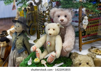 MUNICH, GERMANY - NOVEMBER 23, 2018 : Collection of toys in the Toy Museum in the old tower of the City Hall, created by Ivan Steiger in 1983.