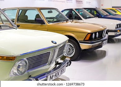 MUNICH, GERMANY - NOVEMBER 24, 2018 : Exhibition and achievements of the exhibits of the legendary models of cars and motorcycles in the BMW Museum.
