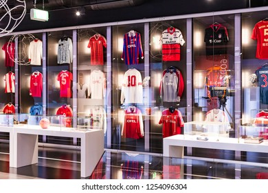 MUNICH, GERMANY - NOVEMBER 25, 2018 :  The Museum of Achievements of the football club Munich Bavaria located on the territory of the Allianz Arena.