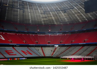 MUNICH, GERMANY - NOVEMBER 25, 2018 : The interior of the home stadium Allianz Arena football club Munich Bavaria.