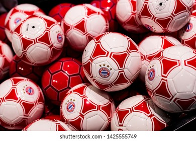 MUNICH, GERMANY - NOVEMBER 25, 2018 : Store of sports clothing and souvenirs of the Bavaria Munich football team on the territory of Allianz Arena.