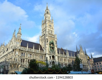 MUNICH, GERMANY - NOVEMBER 26, 2017: Landmark of Marienplatz, new town hall in old town Munich, Germany. Christmas market