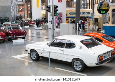 MUNICH, GERMANY - NOVEMBER 26, 2018 :Collection of historically known and vehicles to the Munich Transport Museum (Deutsches Museum Verkehrszentrum).