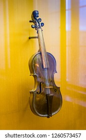 MUNICH, GERMANY - NOVEMBER 27, 2018 : The Represents an exposition of the history of antique musical instruments in the Bavarian National Museum in Munich.