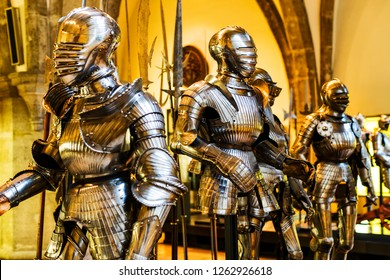 MUNICH, GERMANY - NOVEMBER 27, 2018 : The exposition of medieval armor and knight knights presented in the Bavarian National Museum in Munich.
