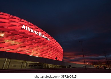 MUNICH, GERMANY - NOVEMBER 29, 2015: Allianz Arena at Night. It is the football stadium of FC Bayern Munich. It is designed by Herzog & de Meuron.