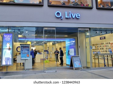 Munich, Germany - November,2018: O2 storefront entrance with logo (Telefonica Germany GmbH or Telefonica Deutschland). O2 is a German provider of broadband, landline and mobile telecommunications
