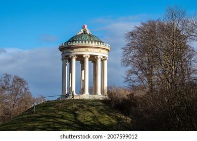 Munich, Germany - Oct 01, 2020: Monopteros - Greek style temple in Englischer Garten. Munich in Germany
