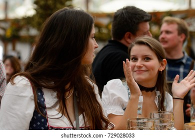 MUNICH, GERMANY - OCT 2, 2017: Unidentified beautiful girl at the Octoberfest,  the world's largest festival