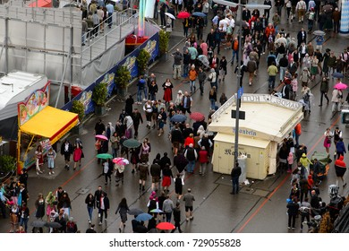 MUNICH, GERMANY - OCT 2, 2017: Unidentified people visit the Octoberfest,  the world's largest festival