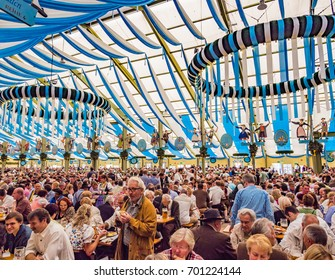 MUNICH, GERMANY - OCT 2: Interiors of Ochsenbraterei tent at the Oktoberfest in Munich, Germany on October 2,  2013. Oktoberfest is the world's largest beer festival.