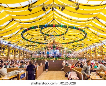MUNICH, GERMANY - OCT 2: Interiors of Winzerer Fahndl tent at the Oktoberfest in Munich, Germany on October 2,  2013. Oktoberfest is the world's largest beer festival.