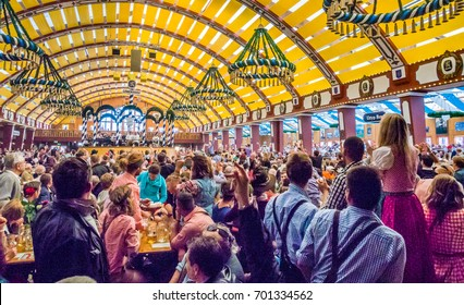 MUNICH, GERMANY - OCT 2: Interiors of Loewenbraeu-Festhalle tent at the Oktoberfest in Munich, Germany on October 2,  2013. Oktoberfest is the world's largest beer festival.