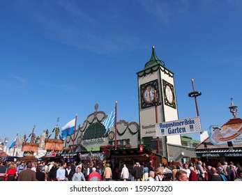 MUNICH, GERMANY - OCT 2: Street view at Oktoberfest in Munich, Germany on October 2,  2013. Oktoberfest is the world's largest beer festival.