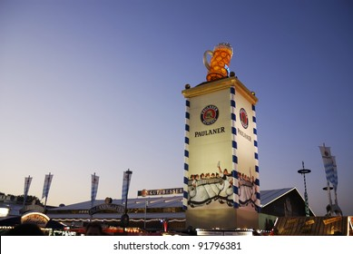 MUNICH, GERMANY - OCT 3: Beer tent from on the Oktoberfest in Munich, Germany on October 3, 2011. The Oktoberfest is the biggest beer festival of the world with over 6 million visitors each year.