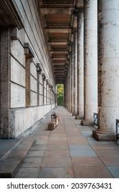 Munich, Germany - Oct 31, 2019: Columns at Haus der Kunst Art Museum - Munich, Bavaria, Germany