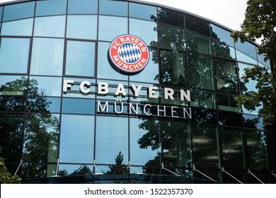 Munich, Germany - Oct. 4, 2019: Headquarter of world known german football soccer club of Bundesliga and Champions League FC Bayern Munich
