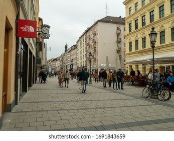 Munich, Germany - Oct 4th, 2019:Sendlinger Straße is an important shopping street in Munich's city center. It extends into the Munich old town in the south-east-northeast direction.