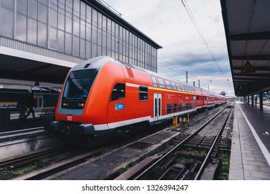 Munich, Germany - OCT 7 2018 : DB train at platform of Munich Station (Munich Hauptbahnhof, Central Station)