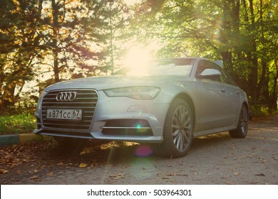 MUNICH, GERMANY - OCTOBER 01, 2016: Audi A6 parked on the street of Munich, suburb. Audi is among the best-selling luxury automobiles in the world.