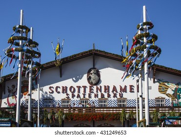 MUNICH, GERMANY - OCTOBER 02, 2015: Facade and entrance of the Schottenhamel beer tent
