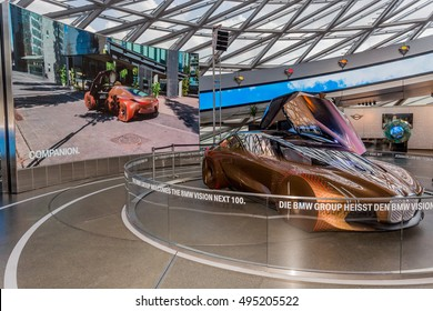 """Munich, Germany - October 03, 2016: Concept car """"The Next 100 Years"""" at BMW Welt (BMW World) in Munich, Germany, BMW Welt is an exhibition facility of the BMW AG, located near BMW in Munich."""