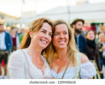 Munich, Germany - October 07, 2018: Beautiful girls in national costumes at the biggest folk festival in the world - the Oktoberfest.