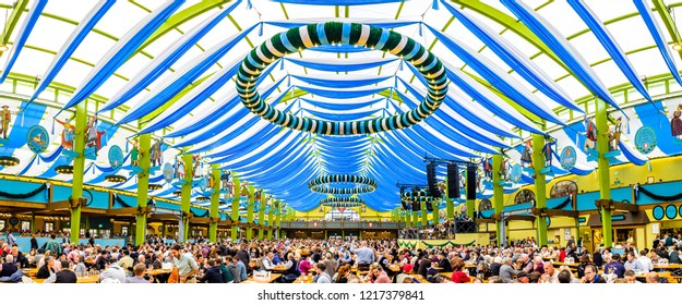 Munich, Germany - October 1: famous beer tent called Ochsenbraterei Spatenbraeu and people at the biggest folk festival in the world - the oktoberfest on oktober 1, 2018 in munich.