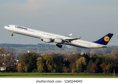 MUNICH / GERMANY - OCTOBER 18, 2017: Lufthansa Airbus A340-600 D-AIHT passenger plane departure from Munich Airport